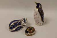 Three Royal Crown Derby paperweights - Penguin, Vixen and Beetle. (3)