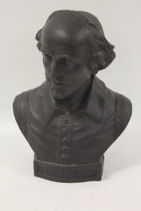A Wedgwood black jasper ware bust depicting Shakespeare, height 26 cm.