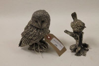 Two Sterling silver figures depicting an owl and small bird. (2)