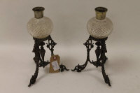 A pair of late Victorian silver-plated table lights, height 24.5 cm. (2)