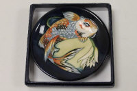 A Moorcroft dish - Quiet Waters, width 12 cm, boxed.