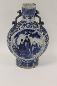 A nineteenth century blue and white Chinese moon vase, height 20.5 cm.
