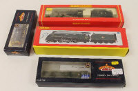A Hornby 00 gauge Class A4 locomotive Woodcock engine, together with LMS 4-6-0 Class 5 engine and two others similar by Bachmann, boxed. (4)