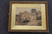 Paul Sandby : A Gentleman on a black horse outside a country dwelling, watercolour, signed, 22 cm x 29 cm, framed.