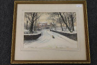 W.S. Stimpson : Sledging on Crow Bank, Wallsend, watercolour, signed in pencil, dated 1985, 25 cm x 35 cm, framed.