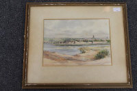 Frank Watson Wood : Berwick-on-Tweed, watercolour, signed, dated '47, 25 cm x 34 cm, framed.