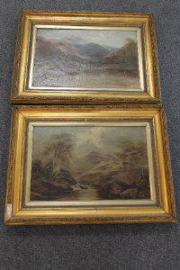 Early Twentieth Century School : A river study with mountains beyond, oil on canvas, indistinctly signed with three initials, 30 cm x 45 cm, together with the companion piece, both parts framed. (2)