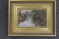 Isabella (Isa) Jobling : River study with kingfisher, oil on panel, 13 cm x 21 cm, with Laing Gallery exhibition label verso, framed.
