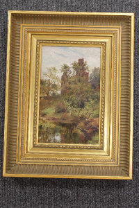 Isabella (Isa) Jobling : Lincluden Abbey, Dumfries, oil on panel, 21 cm x 13 cm, with Laing Gallery exhibition label verso, framed.