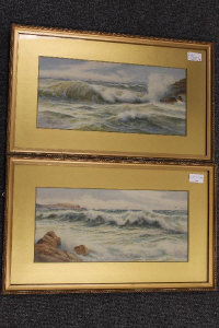 G. Rockhill : Waves breaking with sailing boats beyond, watercolour, signed, 17 cm x 37 cm, together with the companion piece, both parts framed. (2)