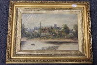 R.M. Allen : A rowing boat on The Tyne at Ovingham, oil on canvas, signed, 29 cm x 44 cm, framed.