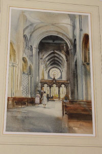 David Morris : The Rose Window, Durham Cathedral, watercolour, signed in pencil, 47 cm x 30 cm, framed.
