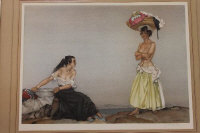After Sir William Russell Flint : Rosa and Marissa, reproduction in colours, signed in pencil, from the limited edition of 700, published by Frost and Reed, with the blindstamp of The Fine Art Trade Guild, 45 cm x 61 cm, framed.