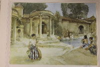 After Sir William Russell Flint : An awkward encounter, Languedoc, reproduction in colours, signed in pencil, from the limited edition of 760, published by W. J. Stacey, with the blindstamp of The Fine Art Trade Guild, 41 cm x 57 cm, framed.