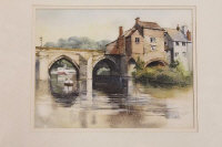 David Morris : Elvet Bridge, Durham, watercolour, signed in pencil, 23 cm x 29 cm, together with another watercolour by the same artist depicting sheep, both parts framed. (2)