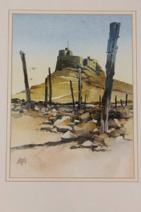 David Morris : Lindisfarne Castle, watercolour, signed in pencil, 30 cm x 22 cm, together with another watercolour by the same artist depicting a classical statue, both parts framed. (2)