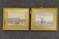 "Twentieth Century School : Sailing boats in calm waters, a pair of watercolours, signed with the initials ""F.H."", 15 cm x 18 cm, both parts framed. (2)"