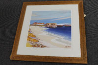 After Tom MacDonald : Beadnell Bay, reproduction in colours, signed in pencil, 51 cm x 51 cm, framed.