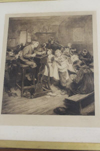 After Ralph Hedley : Children in a classroom, photogravure in sepia, signed in pencil, with margins, 57 cm x 50 cm, framed.