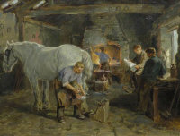 Ralph Hedley : A Blacksmith's Forge, oil on canvas, signed with initials, dated 1910, 33 cm x 43 cm, framed.