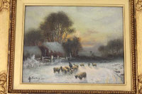 * * Forbes : A shepherd and sheep in a winter landscape, oil on canvas, signed, dated 1911, 19 cm x 24 cm, framed.