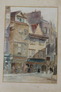 Early Twentieth Century School : Figures and carriages in a street, watercolour, with unidentified monogram, dated 1908, 33 cm x 23 cm, together with the companion piece, both parts framed.  (2)