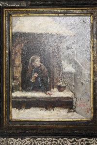 A.R. Valdes : A young girl peering through a window at a blackbird in winter, oil on panel, 24 cm x 18 cm, framed.