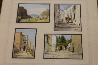 R. Martin Tomlinson : Granada to Tangier (Paintings from a sketchbook), a set of four topographical watercolours, all signed, mounted with pencil captions as one, overall size 39 cm x 39 cm, framed.
