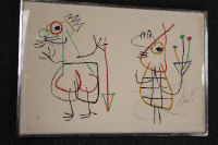 Joan Miro : Ubu IV, colour lithograph, signed in pencil, numbered 72/120, 33 cm x 50 cm, framed.