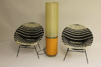 A 1970's Belling multi-function lamp, together with a pair of basket chairs. (3)