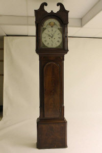 A nineteenth century mahogany longcased clock, with moon phase dial by William Newby of Kendall.