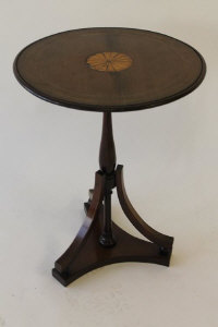 An Edwardian inlaid mahogany occasional table, width 41.5 cm.
