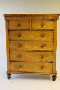A Victorian ash chest of six drawers, width 131 cm.