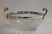A silver mounted cut-glass fruit bowl, Birmingham 1901.