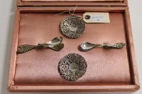 A continental silver eight piece serving set, cased.