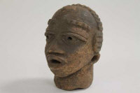 An early twentieth century African terracotta tribal head, height 11.5 cm.