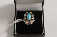 A Victorian eight stone diamond and turquoise cluster ring.