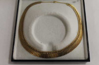 A 9ct gold flat-linked necklace, 23.7g.