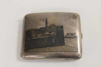 A continental white metal niello cigarette case.