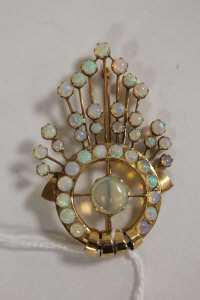 A 9ct gold Art Deco opal brooch.