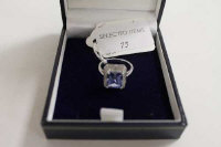 A 9ct white gold diamond and tanzanite ring.