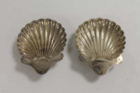 A pair of silver butter shells. (2)