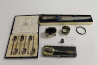 A set of six silver teaspoons, together with a silver salt and five other small items of silver.