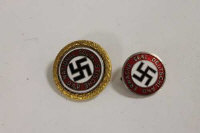 A Third Reich golden party badge of numbered issue type, together with a 1933 NS. DAP badge. (2)