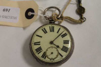 A silver pocket watch, London 1872, with no.8 key. (2)