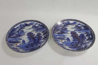 A pair of Japanese blue and white chargers, width 41 cm. (2)