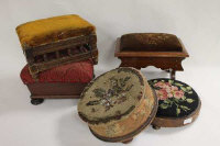 Five late Victorian footstools. (5)