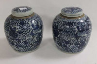 A pair of Chinese blue and white ginger jars decorated with birds and foliage, height 23 cm. (2)