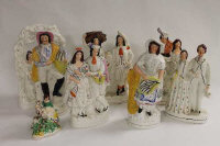 A collection of eight nineteenth century Staffordshire figures. (8)