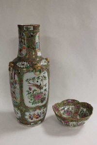 A nineteenth century Cantonese vase, height 63 cm, together with a shaped bowl of the same design. (2)